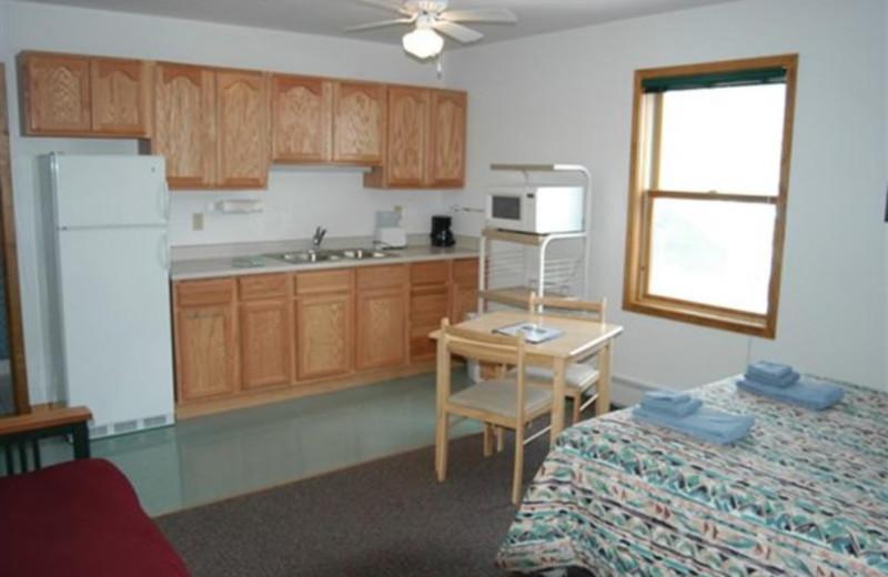 Lodge room interior at Three Rivers Resort.