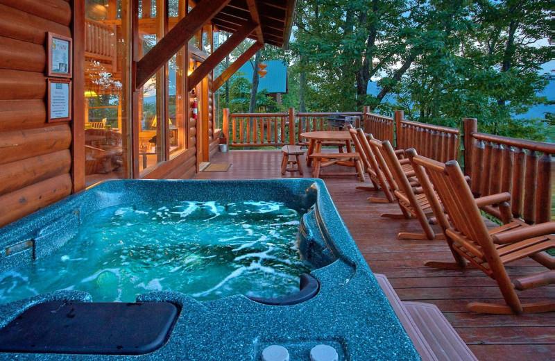 Rental balcony at Natural Retreats Great Smoky Mountains.