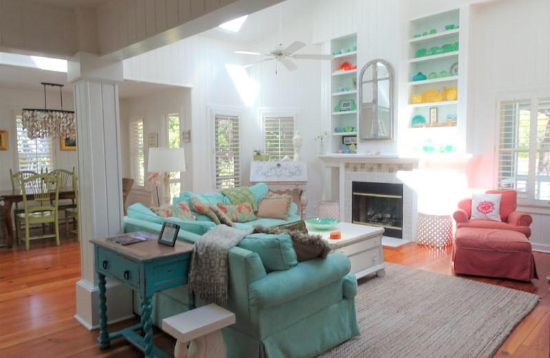 Rental living room at Mary Munroe Realty: Bald Head Vacations & Sales.
