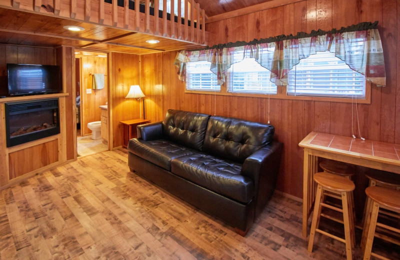 Cabin interior at Lone Star Jellystone.