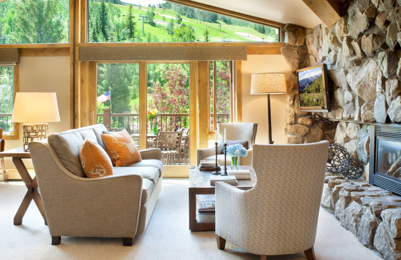 Guest living room at Manor Vail Lodge.