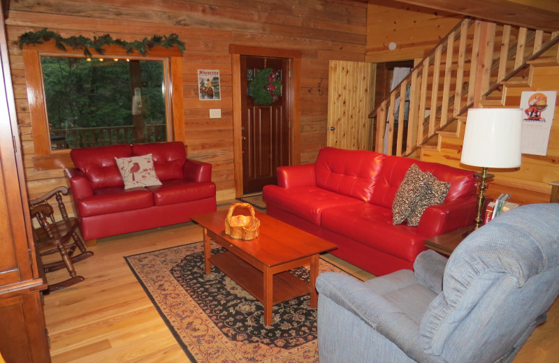 Cabin living room at Creeks Crossing Cabins.