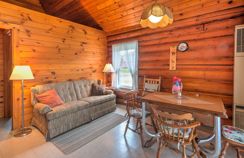 1920's authentic lakeside cabin living room at Jackson's Lodge and Log Cabin Village.