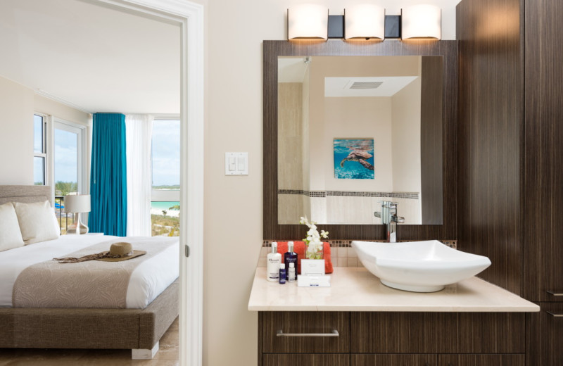 Guest bathroom at East Bay Resort.