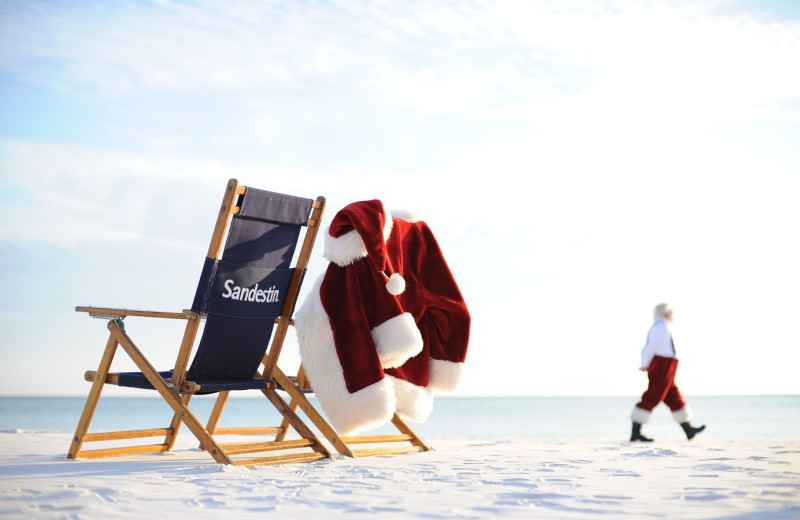 Santa on the beach at Sandestin Golf Resort.
