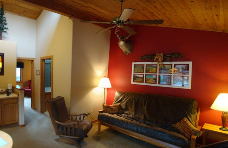 Guest living room at Bristlecone Lodge.
