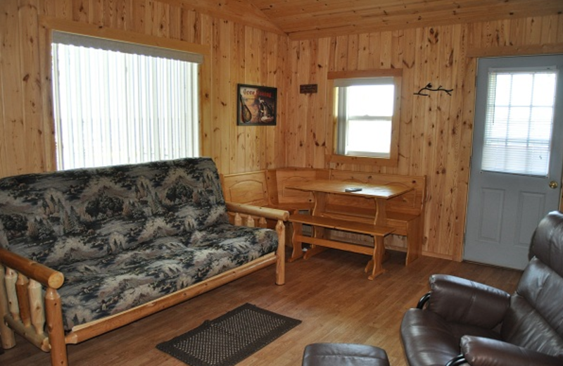 Cabin living room at Elm Haven Resort.