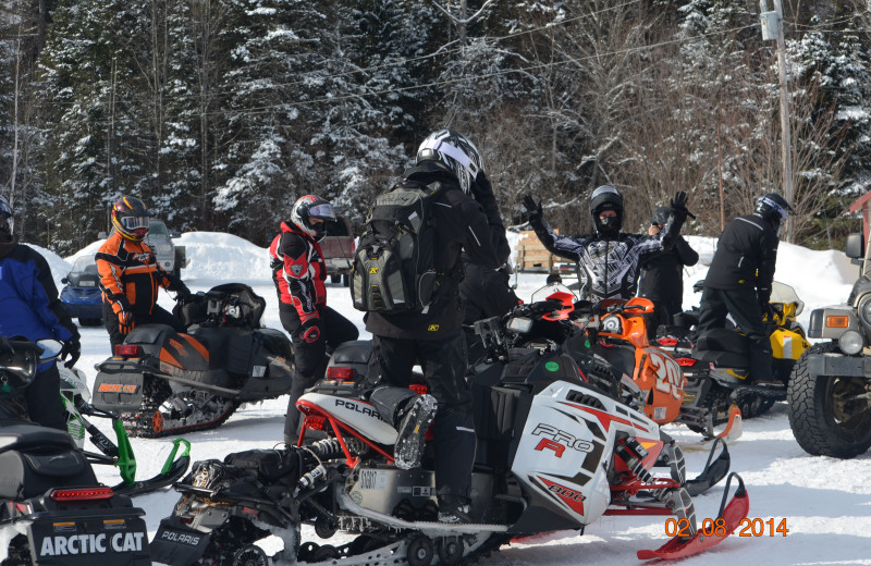 Snowmobiling at Wilsons On Moosehead Lake.