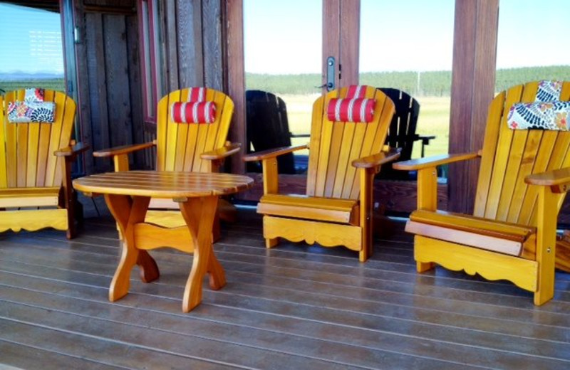 Vacation rental porch at Five Star Rentals of Montana.