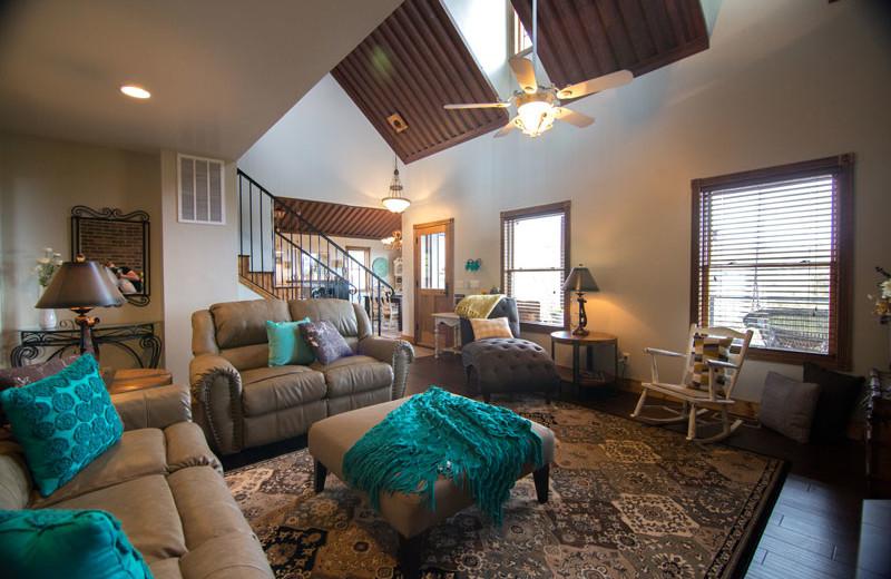 Cabin living room at Whispering Oaks Ranch.
