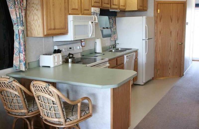 Houseboat kitchen at Trinity Lake.