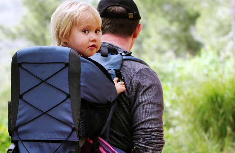 Family hiking at Lund Resort at Klah ah men.