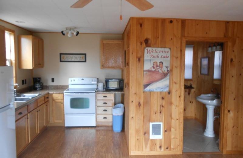 Cabin kitchen at Hidden Haven Resort and Campground.