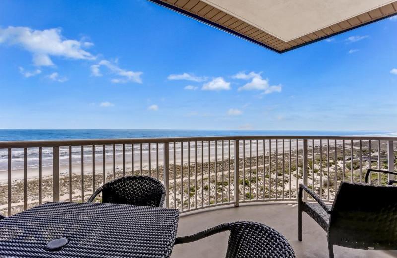 Rental balcony at Beach Vacation Rentals.