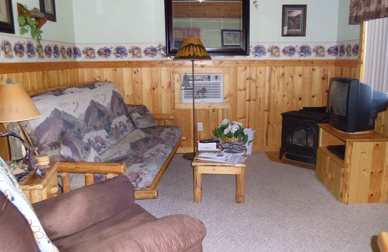 Cabin living room at Glaciers' Mountain Resort.