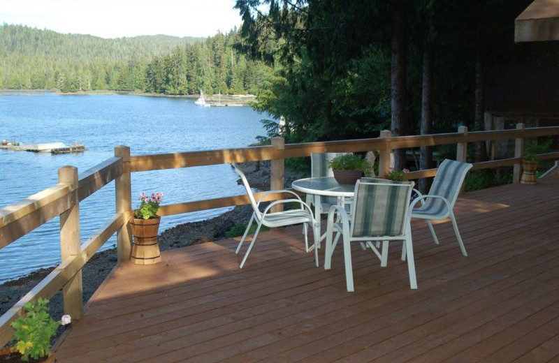 Deck view at portsman's Cove Lodge.