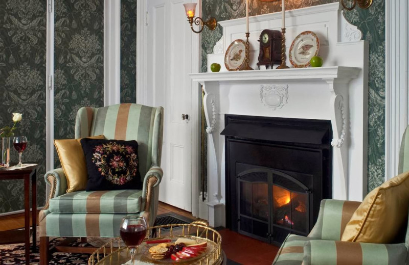 Relax by the fireplace at Maine Stay Inn & Cottages.