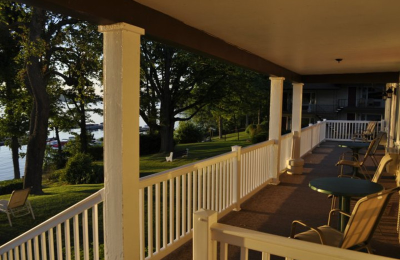 Porch view at Ehrhardt's Waterfront Resort.