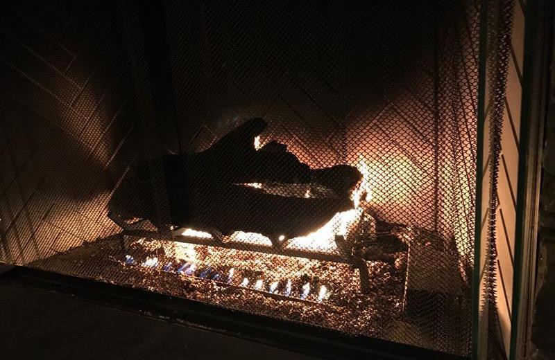 Fireplace at Hammo's Brew Pub & Lodge.