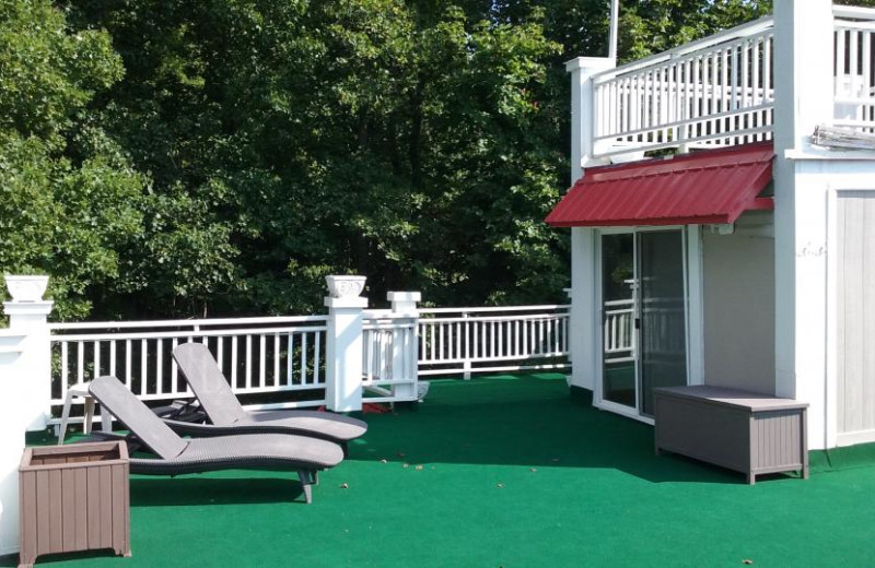 Rental patio at At Your Wits End Vacation Rentals.