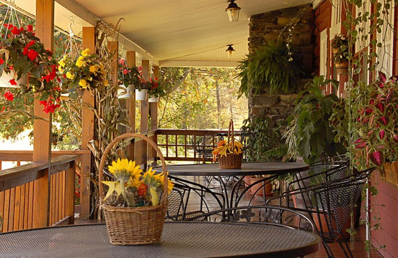 The morning sunny porch at Jackson's Lodge is the destination of memorable dining in renowned homemade country-style Jackson's Cafe.