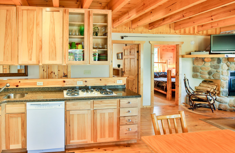 Cabin kitchen at Northern Lights Resort & Outfitting.