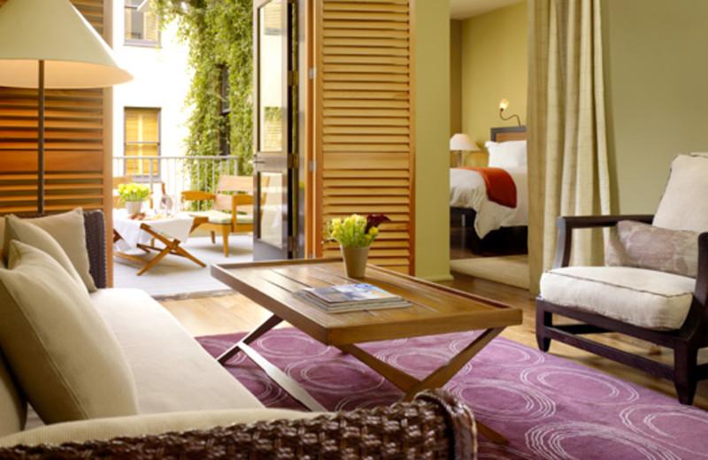 Guest suite at Hotel Healdsburg.