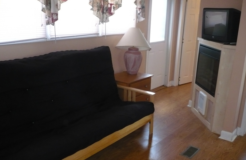 Cabin living room at American RV Park.