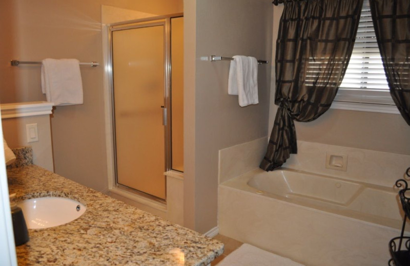 Rental bathroom at Lake LBJ Legacy Lakehouse.