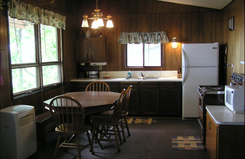 Cabin kitchen at Swan Lake Resort.