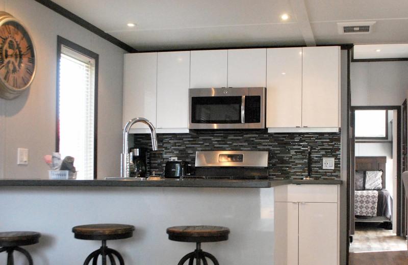 Cottage kitchen at Golden Beach Resort.