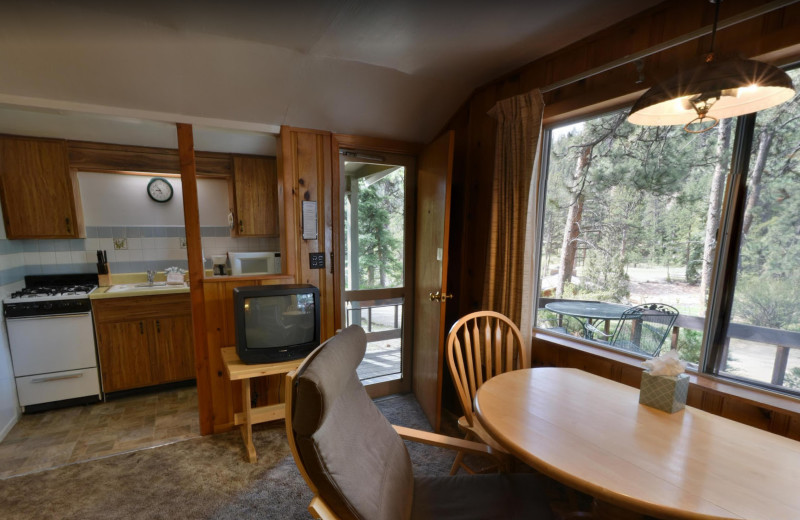 Cabin kitchen at Workshire Lodge.