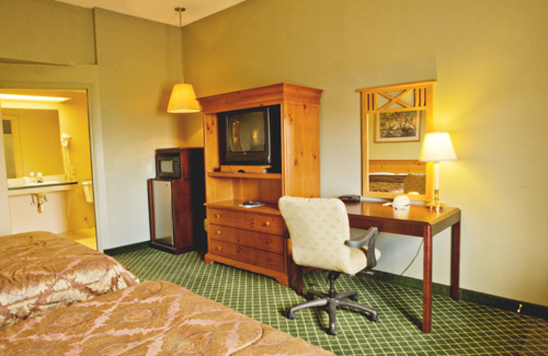 Guest double beds at Hunter's Hot Springs Resort.