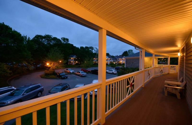 Guest porch at Bar Harbor Inn & Spa.