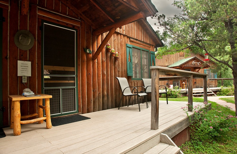Cabin porch at Colorado Bear Creek Cabins.