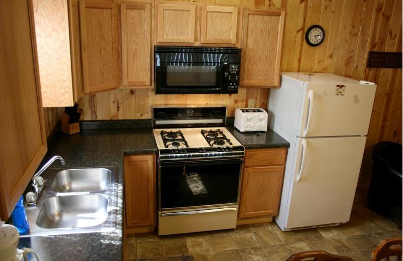 Cottage kitchen at Shady Grove Resort.
