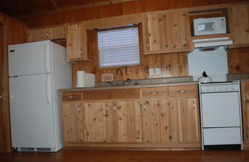 Cabin kitchen at Colorado Springs KOA.