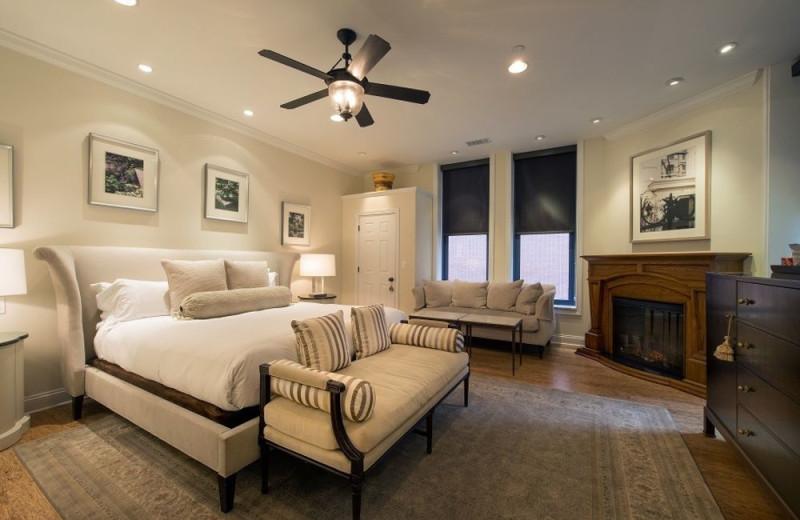 Guest room at Cincinnatian Hotel.