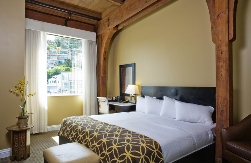 Guest room at Waters Edge Hotel.