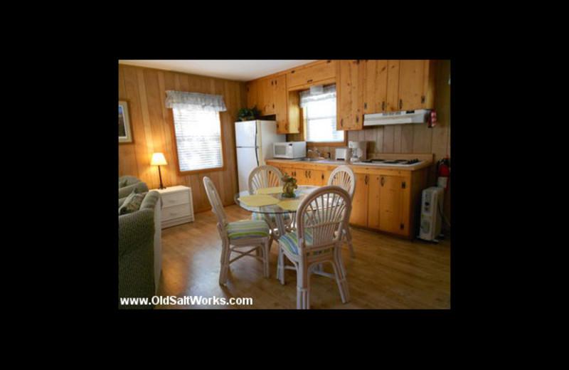 Cabin kitchen at Old Saltworks Cabins.