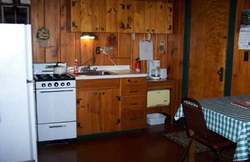 Cabin kitchen at Wilsons On Moosehead Lake.