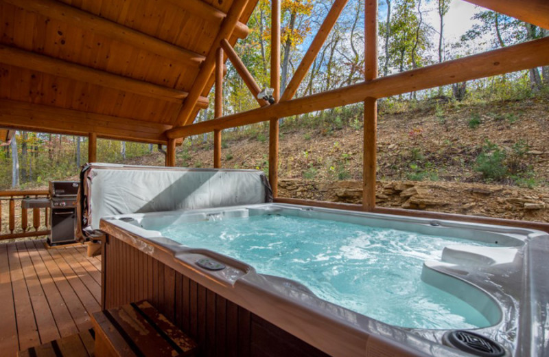 Cabin hot tub at Cut Above Cabins.