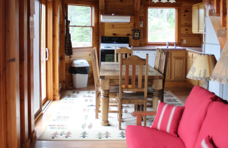 Cabin interior at Cliff Lake Resorts.