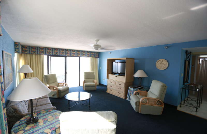 Guest living room at Shoreline Island Resort.