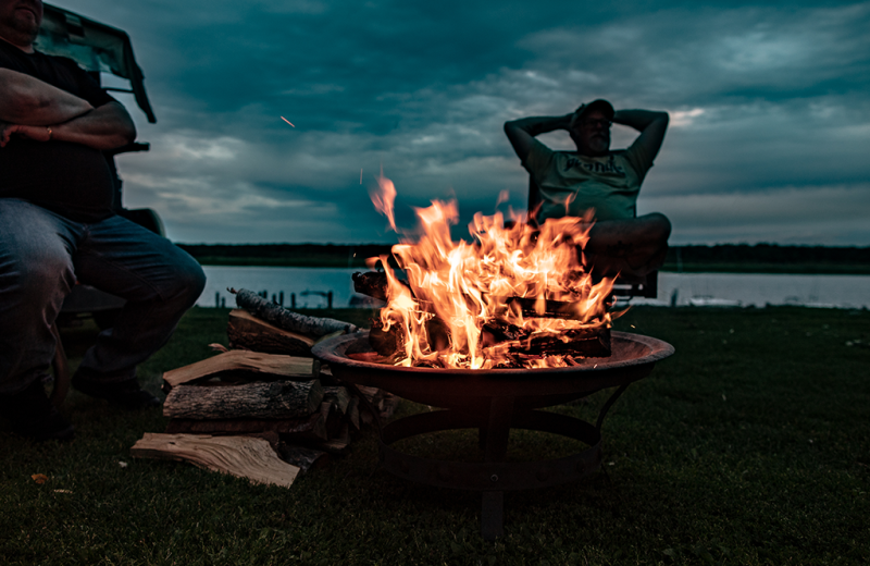 Bonfire at River Bend's Resort & Walleye Inn.