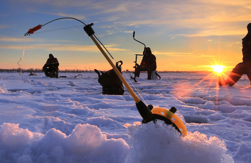 Ice fishing at Grand View Lodge.