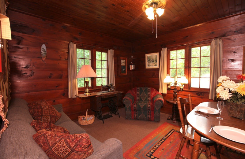 Cabin living room at Glenmore Resort.