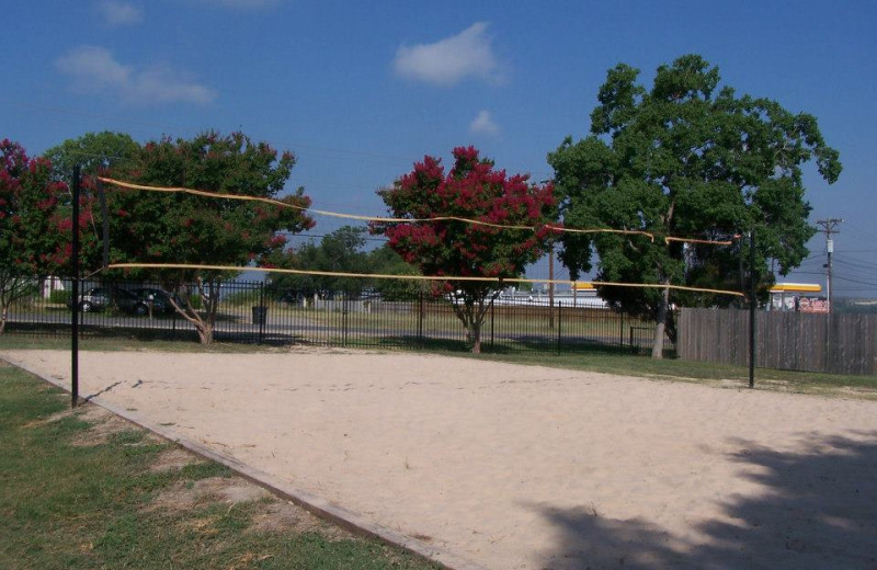 Volleyball court at Hill Country RV Resort & Cottage Rentals.