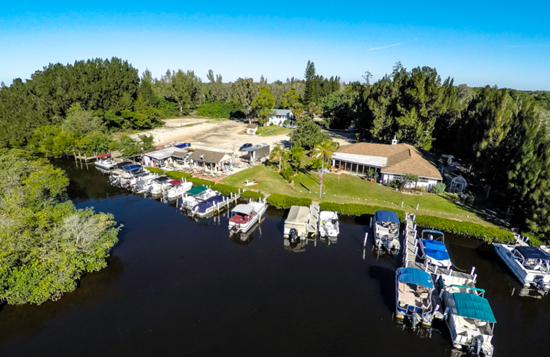 Marina aerial at Tri Power Resort Rentals.