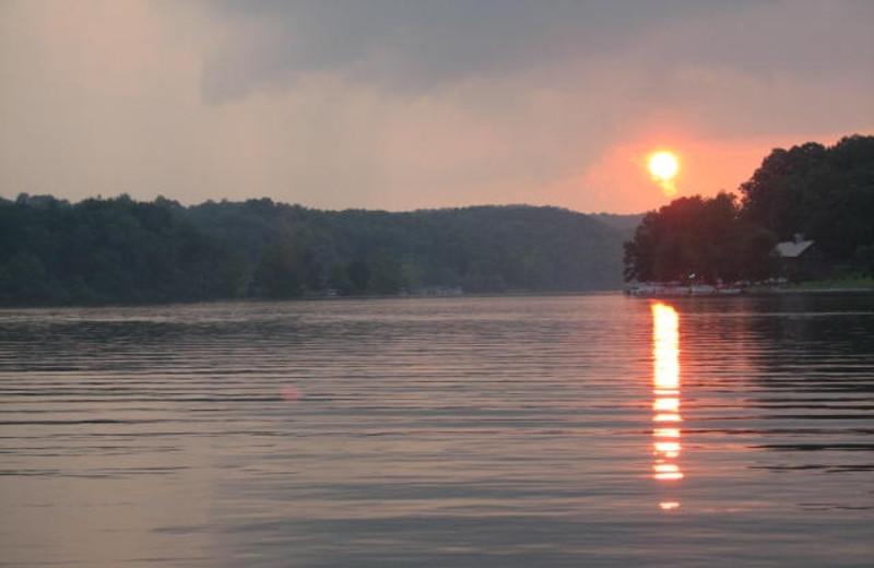 Sunset on lake at Chateau Lake Logan.